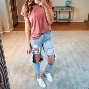 American Eagle Mom Jean Blown Out Blue 4 Ripped